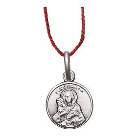 Medalha Santa Rosália prata 925 radiada 10 mm s1