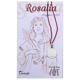 Medalha Santa Rosália prata 925 radiada 10 mm s2
