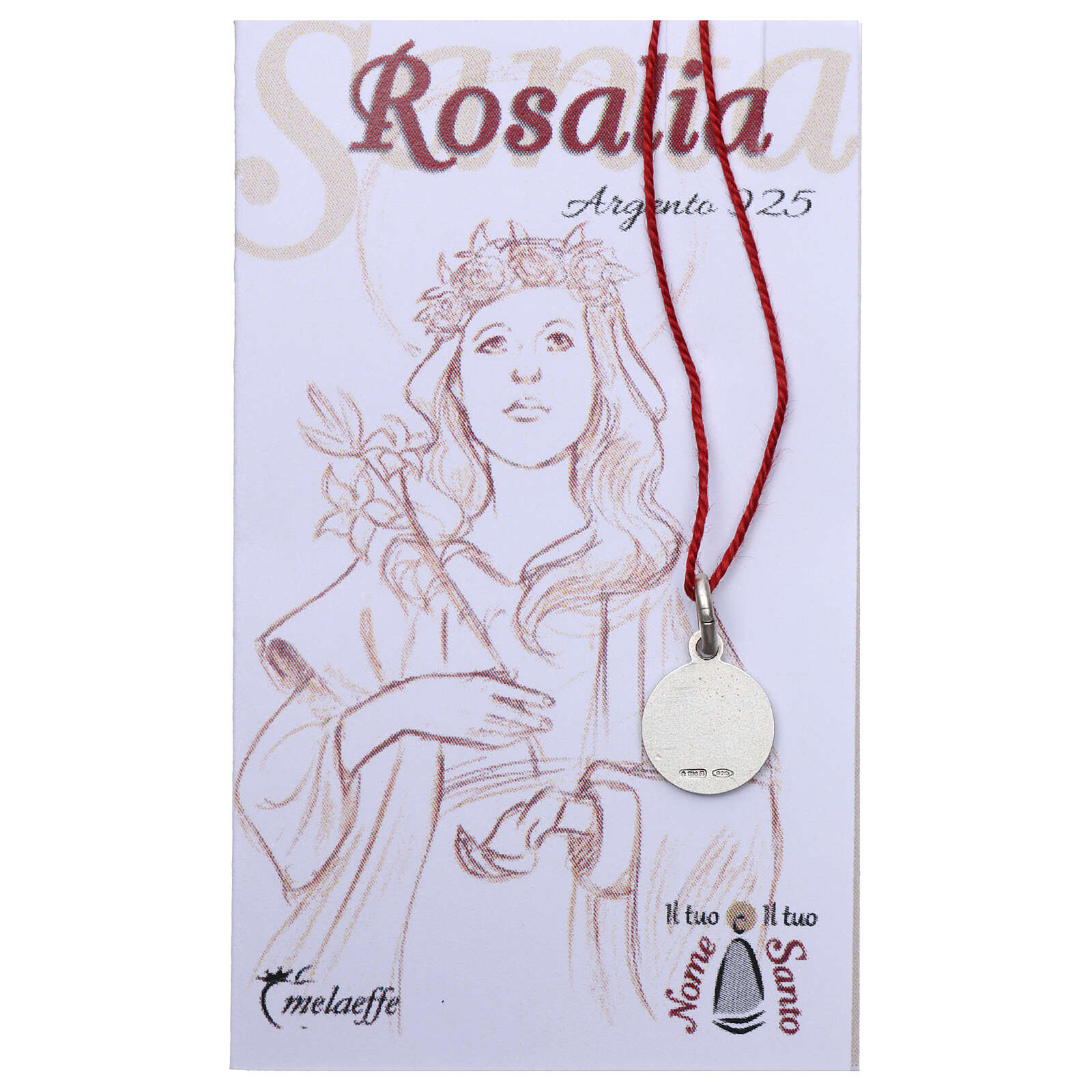 Saint Rosalia medal 925 silver finished in rhodium 0.39 in 4