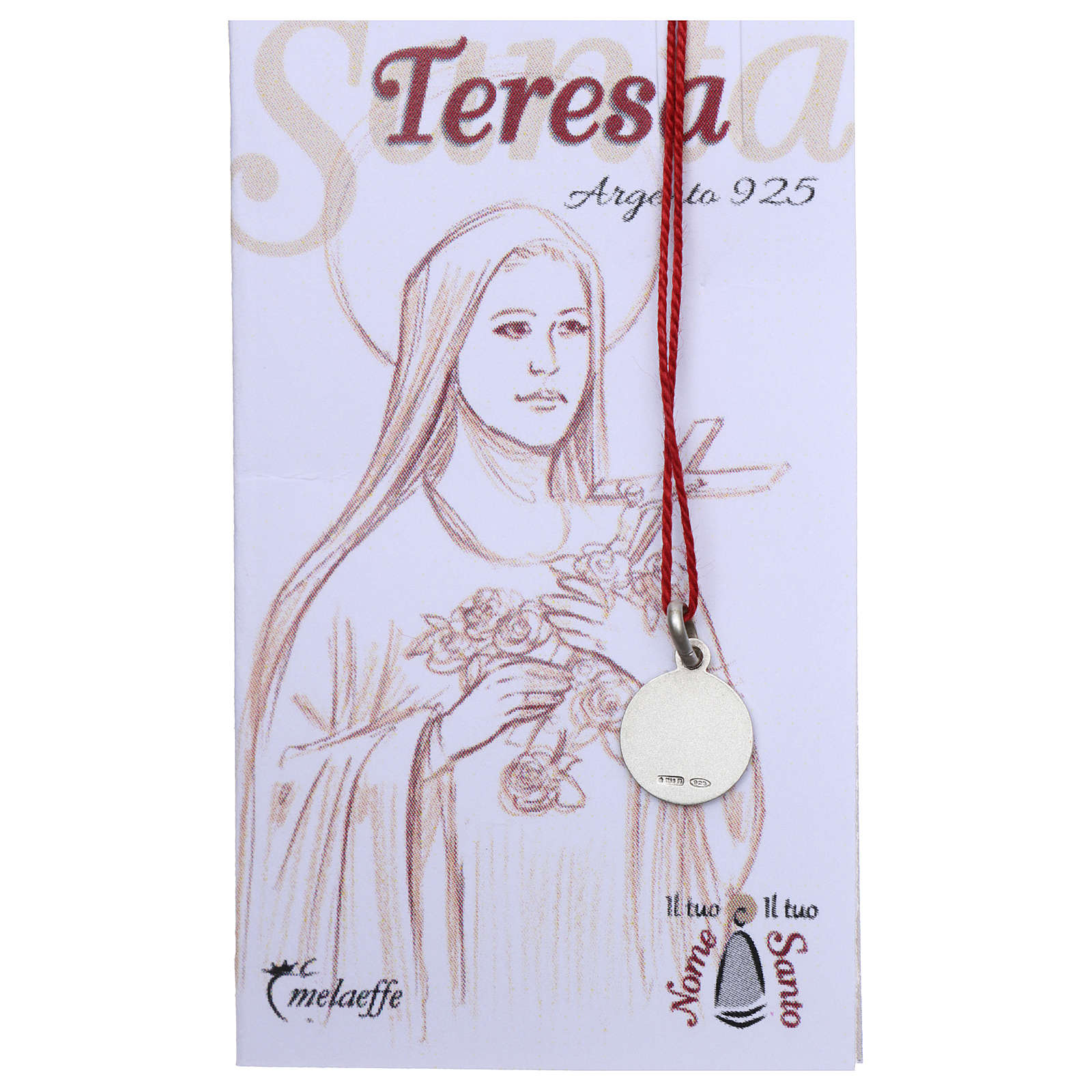 Medaglia Santa Teresa Bambin Gesù Argento 925 rodiata 10 mm 4