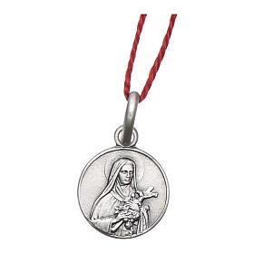 Medalha Santa Teresa do Menino Jesus prata 925 radiada 10 mm s1