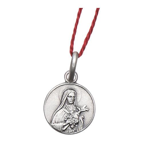 Medalha Santa Teresa do Menino Jesus prata 925 radiada 10 mm 1