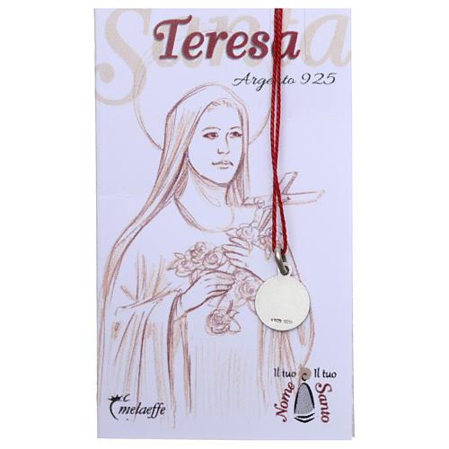 Medalha Santa Teresa do Menino Jesus prata 925 radiada 10 mm 2