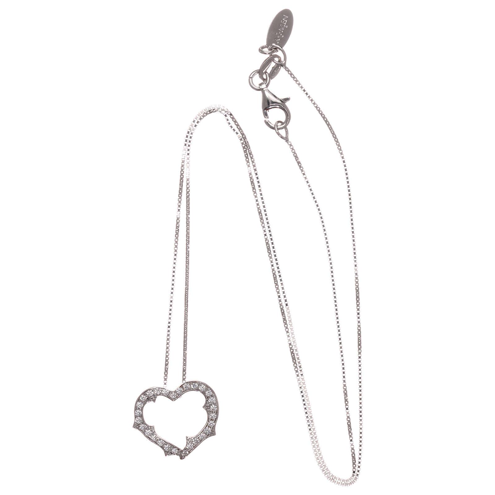 Collana AMEN cuore con zirconi bianchi argento 925 rodiato 4