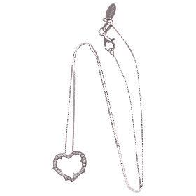 Collana AMEN cuore con zirconi bianchi argento 925 rodiato s3