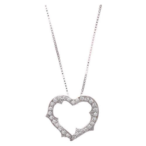 Collana AMEN cuore con zirconi bianchi argento 925 rodiato 1