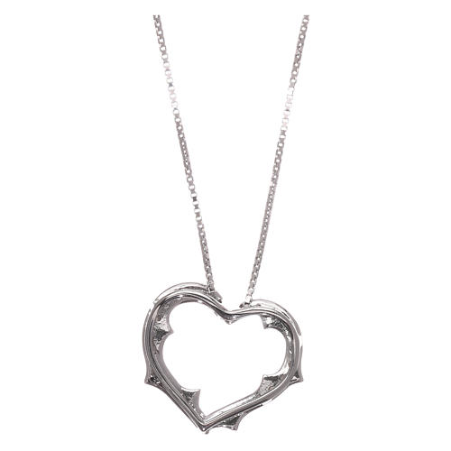 Collana AMEN cuore con zirconi bianchi argento 925 rodiato 2