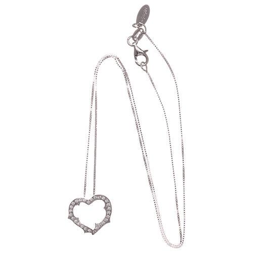 Collana AMEN cuore con zirconi bianchi argento 925 rodiato 3