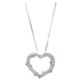 Pingentes, Cruzes, Broches, Correntes: Colar AMEN coração com zircões brancos prata 925 radiada