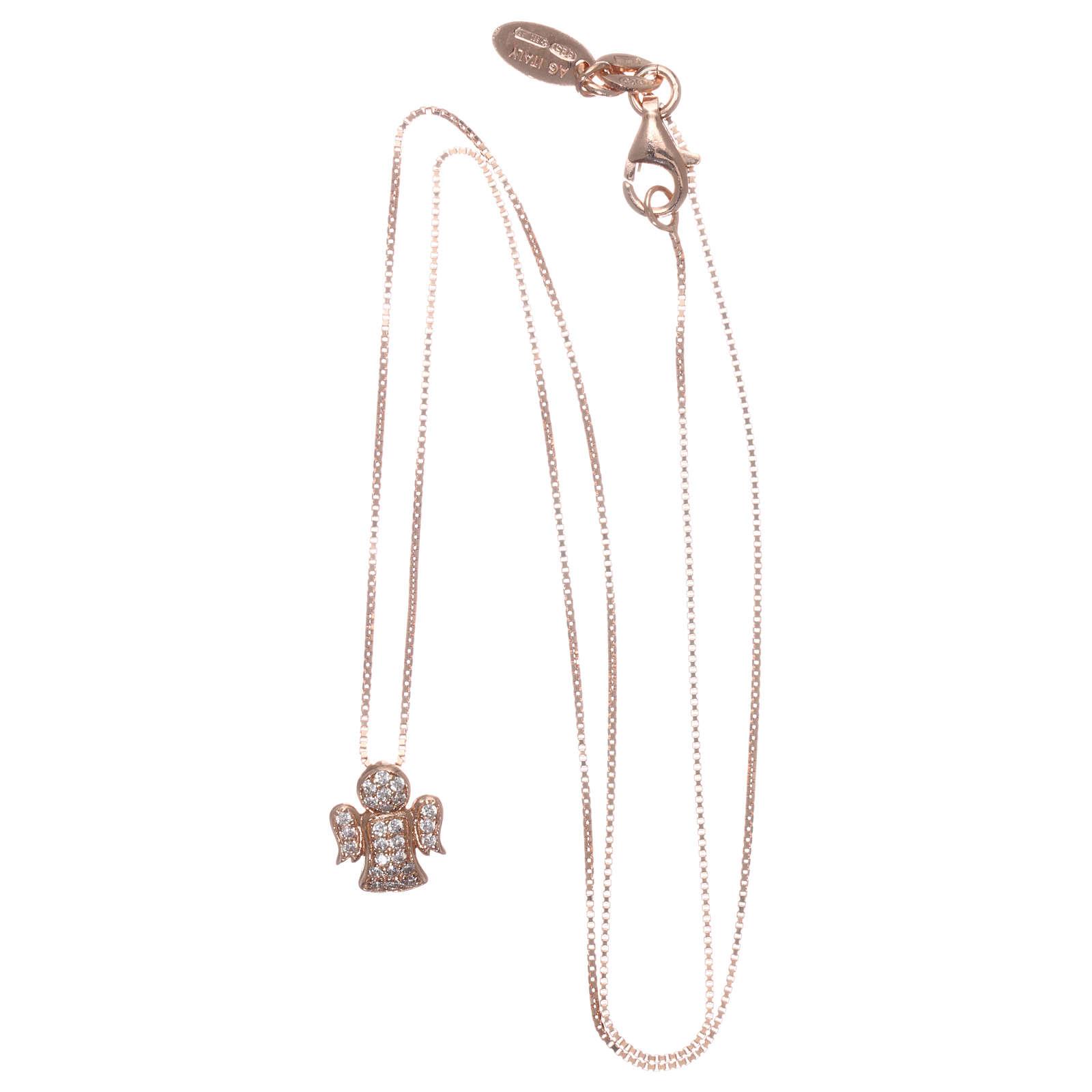 Collar AMEN ángel plata 925 rosada zircones blancos 4