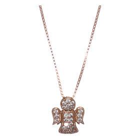 Collar AMEN ángel plata 925 rosada zircones blancos s1