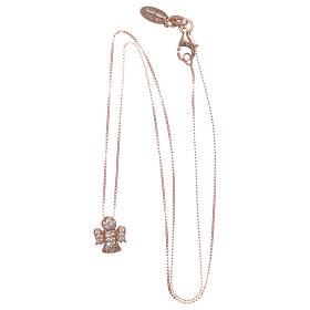 Collar AMEN ángel plata 925 rosada zircones blancos s3