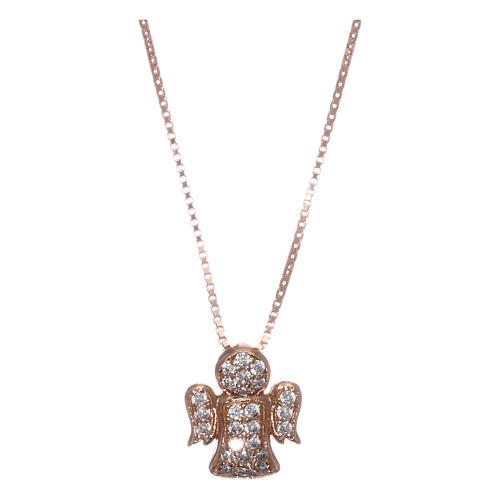 Collar AMEN ángel plata 925 rosada zircones blancos 1