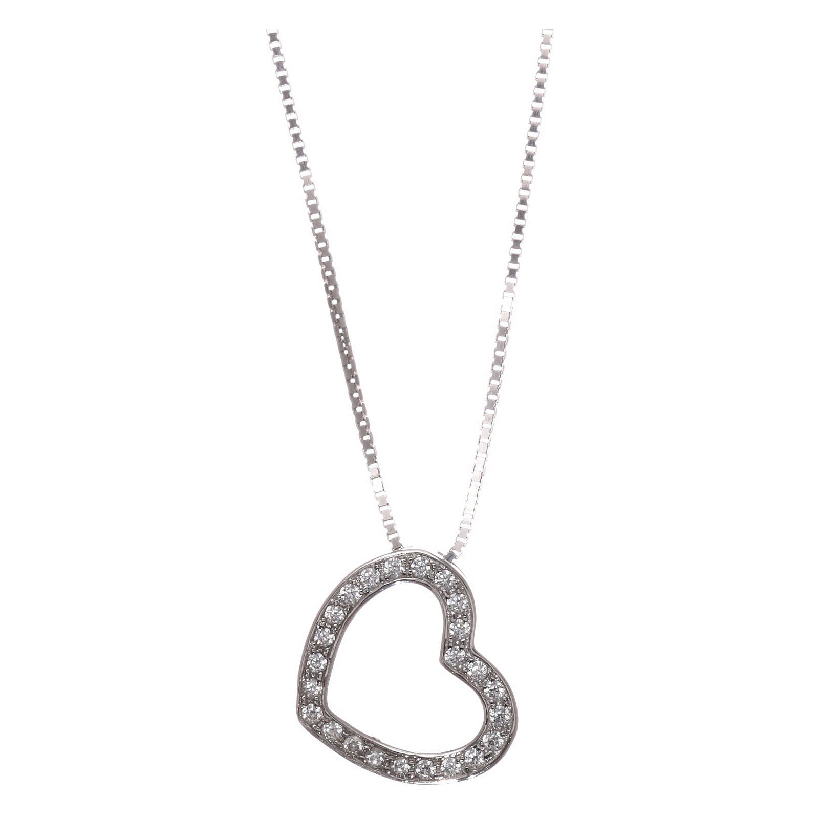 Collar AMEN plata 925 rodiada corazón zircones blancos 4