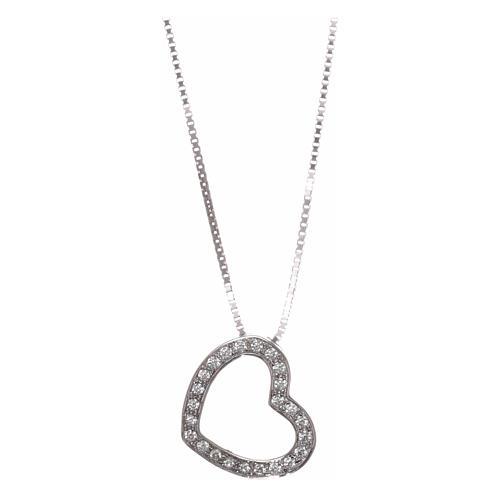 Collar AMEN plata 925 rodiada corazón zircones blancos 1