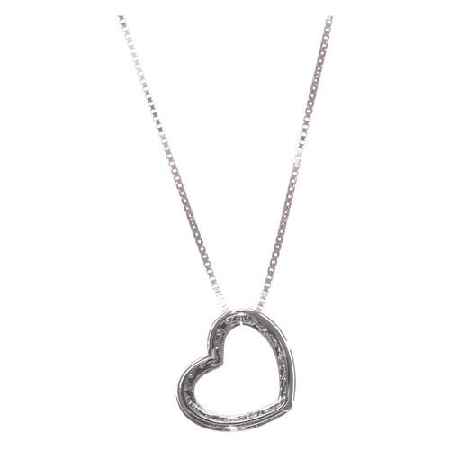 Collar AMEN plata 925 rodiada corazón zircones blancos 2