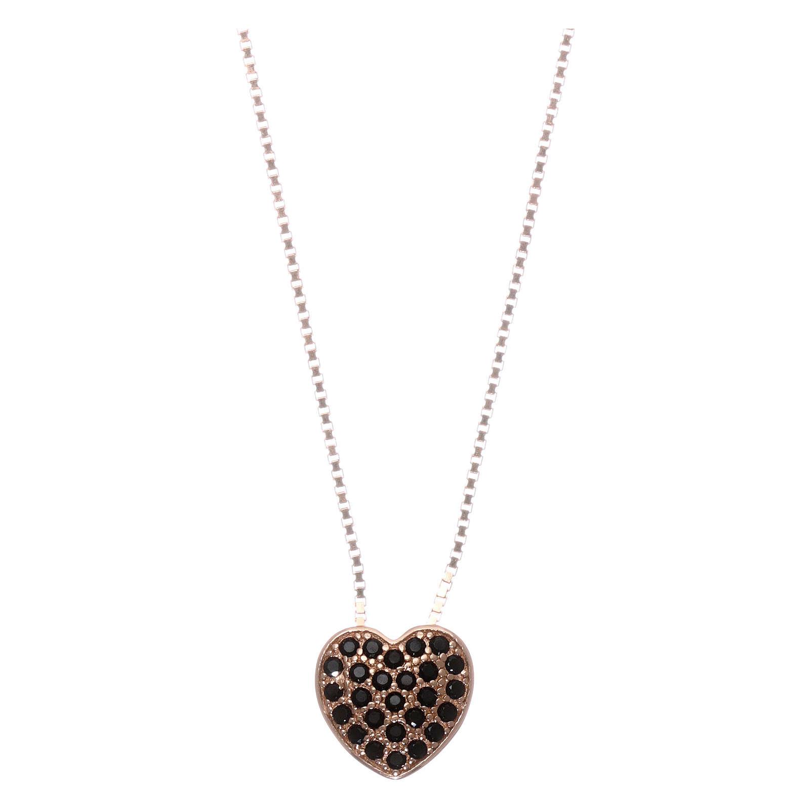 Collar AMEN plata 925 rosada corazón zircones negros 4