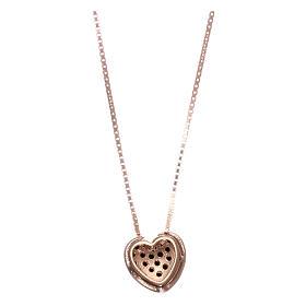 Collar AMEN plata 925 rosada corazón zircones negros s2