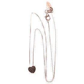 Collar AMEN plata 925 rosada corazón zircones negros s3