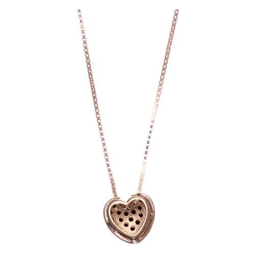 Collar AMEN plata 925 rosada corazón zircones negros 2