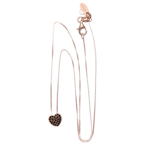 Collar AMEN plata 925 rosada corazón zircones negros 3