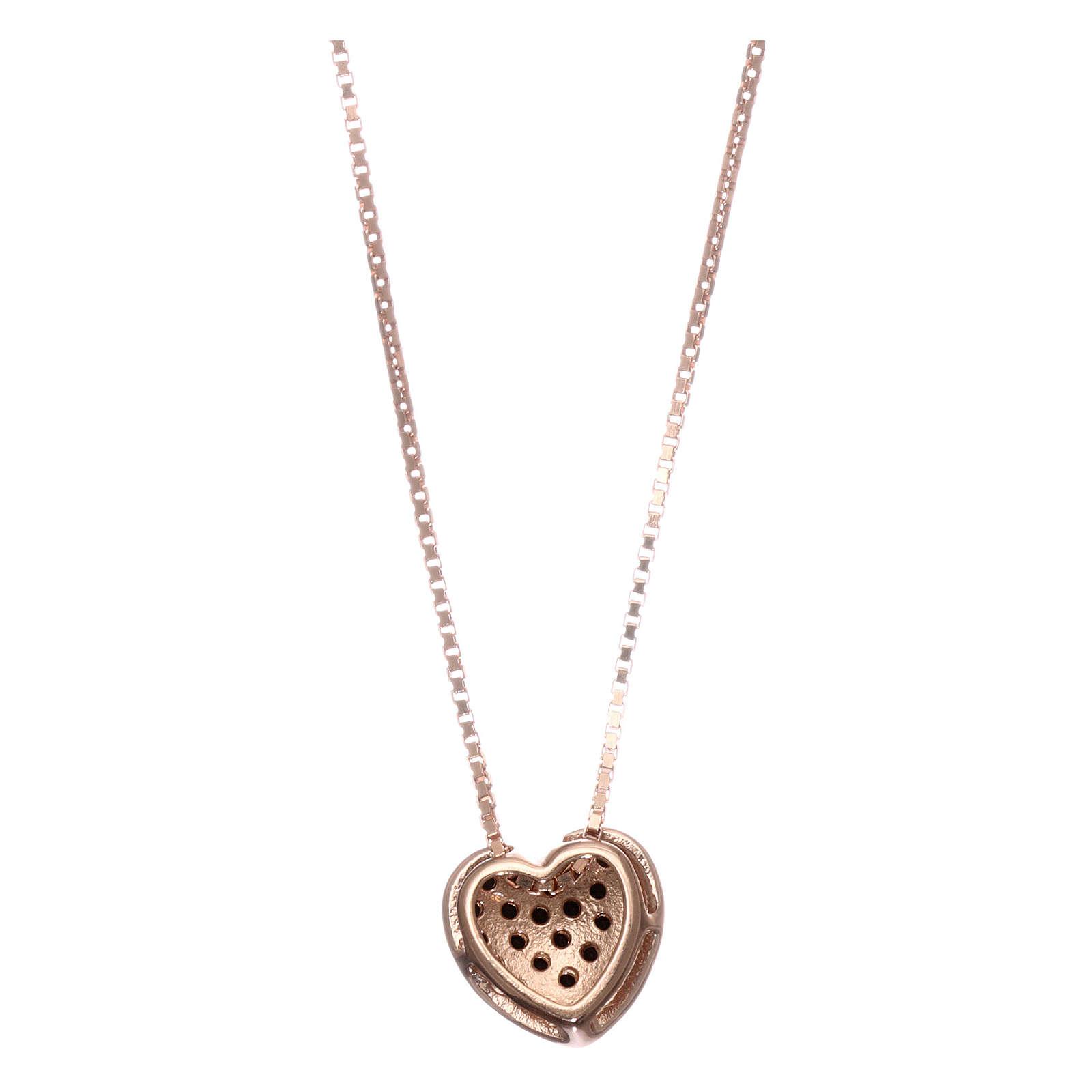 Collana AMEN argento 925 rosé cuore zirconi neri  4