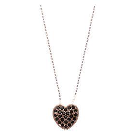 Pingentes, Cruzes, Broches, Correntes: Colar AMEN coração prata 925 rosé zircões pretos