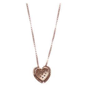 Collar AMEN plata 925 corazón rosada zircones blancos s2