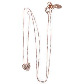 Collar AMEN plata 925 corazón rosada zircones blancos s3