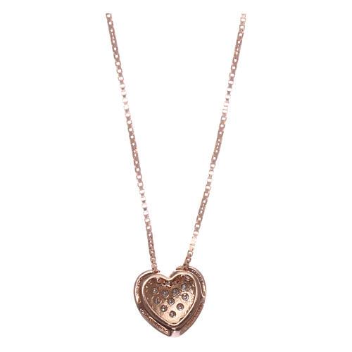 Collar AMEN plata 925 corazón rosada zircones blancos 2