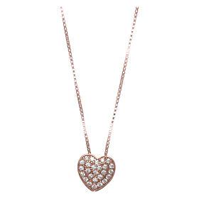 Pingentes, Cruzes, Broches, Correntes: Colar AMEN coração prata 925 rosé zircões brancos