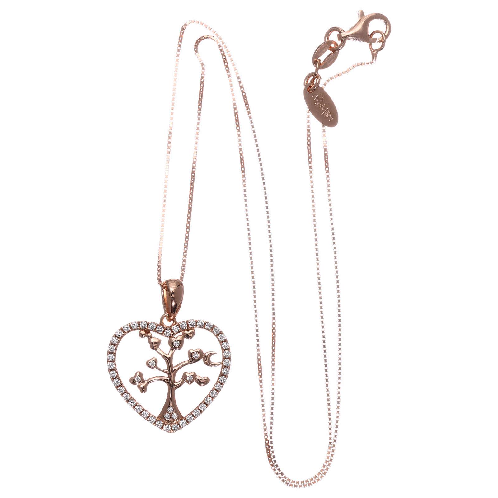 Collana AMEN arg 925 rosé cuore con albero della vita zirconi bianchi 4