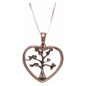 Collana AMEN arg 925 rosé cuore con albero della vita zirconi bianchi s2