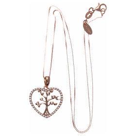 Collana AMEN arg 925 rosé cuore con albero della vita zirconi bianchi s3