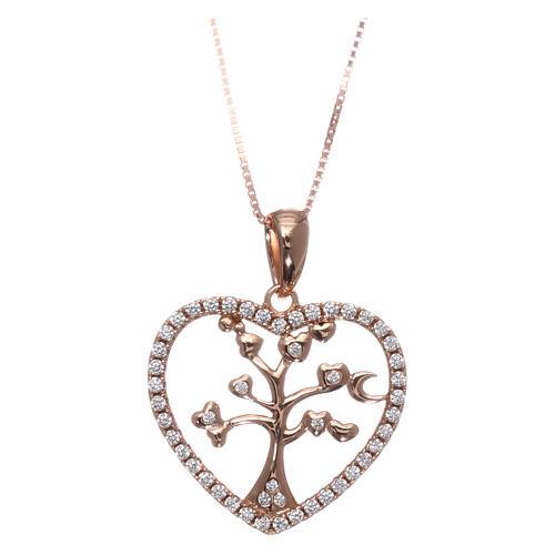 Collana AMEN arg 925 rosé cuore con albero della vita zirconi bianchi 1