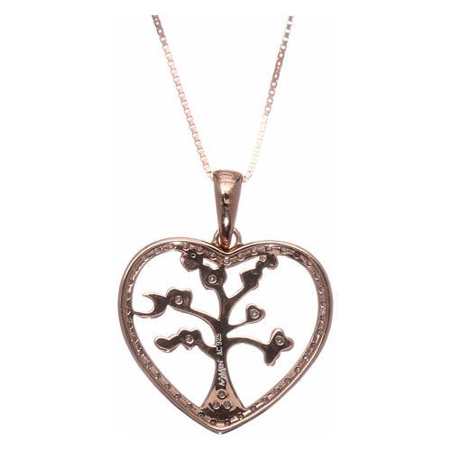 Collana AMEN arg 925 rosé cuore con albero della vita zirconi bianchi 2