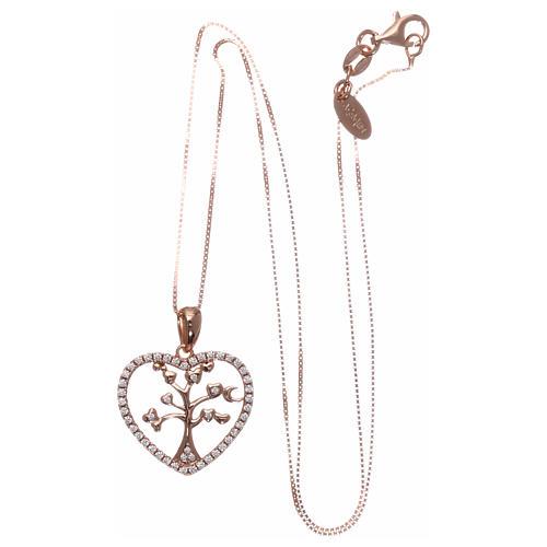 Collana AMEN arg 925 rosé cuore con albero della vita zirconi bianchi 3