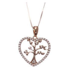 Pingentes, Cruzes, Broches, Correntes: Colar AMEN prata 925 rosé coração com árvore da vida zircões brancos