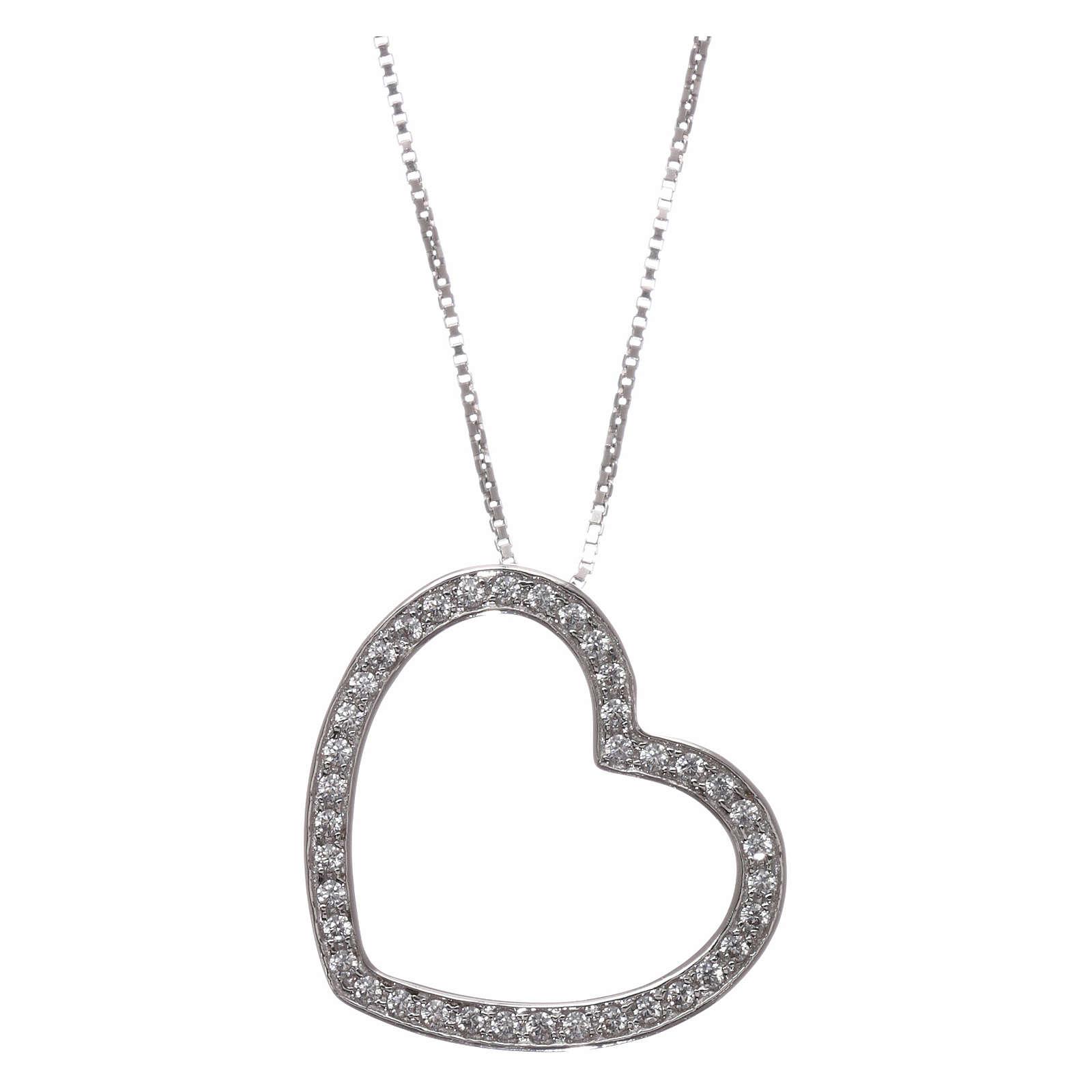Collana AMEN argento 925 rodiato cuore con zirconi bianchi  4