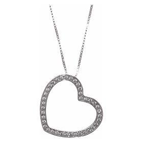 Collana AMEN argento 925 rodiato cuore con zirconi bianchi  s1