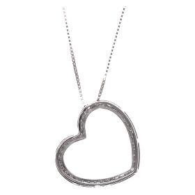 Collana AMEN argento 925 rodiato cuore con zirconi bianchi  s2