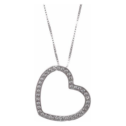 Collana AMEN argento 925 rodiato cuore con zirconi bianchi  1