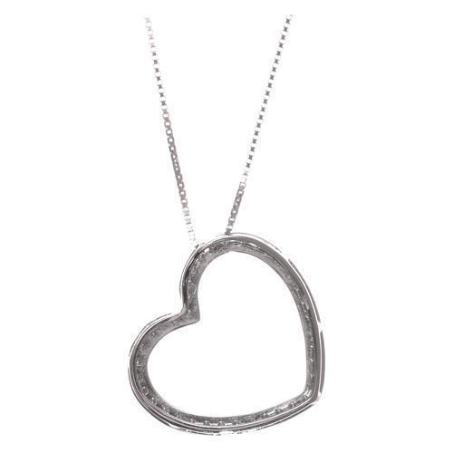 Collana AMEN argento 925 rodiato cuore con zirconi bianchi  2