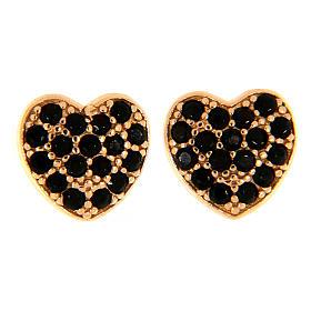 Pingentes, Cruzes, Broches, Correntes: Brincos de pino AMEN prata 925 rosé coração zircões pretos