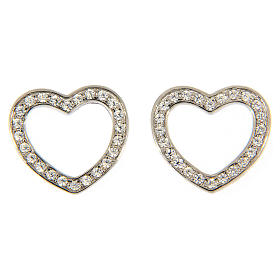 Pingentes, Cruzes, Broches, Correntes: Brincos de pino AMEN prata 925 radiada coração zircões brancos