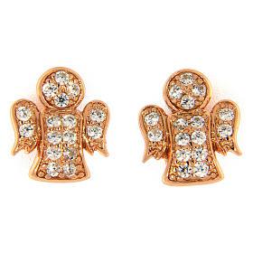 Pingentes, Cruzes, Broches, Correntes: Brincos de pino AMEN prata 925 rosé anjo zircões brancos