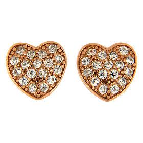 Pingentes, Cruzes, Broches, Correntes: Brincos de pino AMEN prata 925 rosé coração zircões brancos