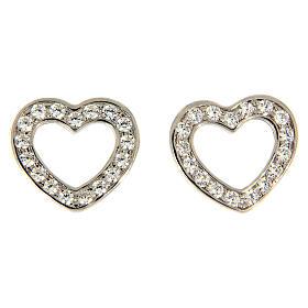 Pingentes, Cruzes, Broches, Correntes: Brincos de pino AMEN prata 925 coração radiado zircões brancos
