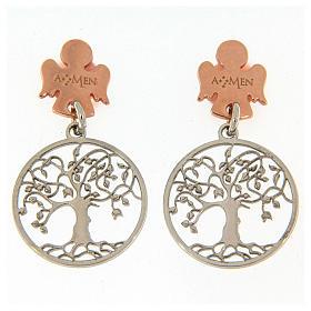 Pingentes, Cruzes, Broches, Correntes: Brincos de pino AMEN prata 925 radiada/rosé anjo árvore da vida