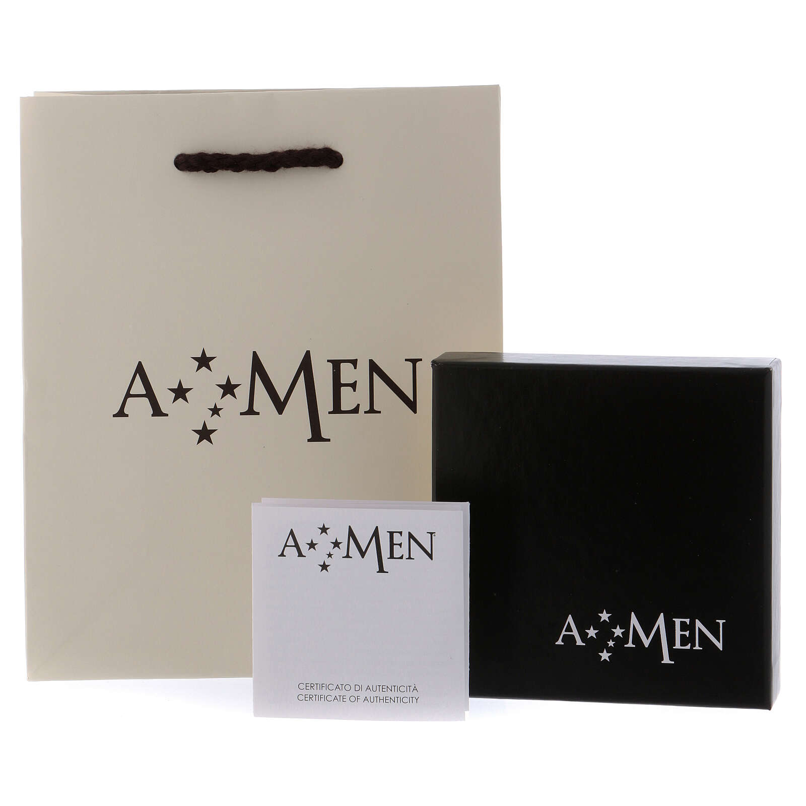 AMEN necklace in rhodium-plated 925 silver with cross and medal 4